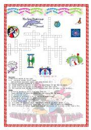 English Worksheet: New Year�s Crossword