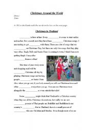 English Worksheet: Christmas in Thailand