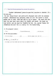 English Worksheets: comprehension ( passage)
