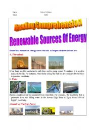 Reading Passage about Renewable sources of energy