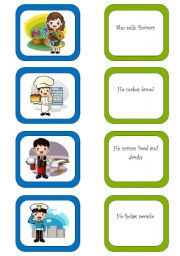 English Worksheets: Memory card game / What do they do? (2/3)