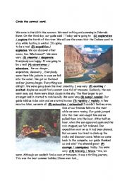 English Worksheet: An adventure trip
