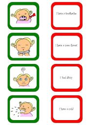 English Worksheet: Memory card game / What´s the matter? (2/3)