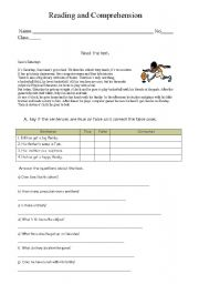 English worksheet: Reading and comprehension