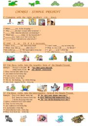 English Worksheet: Simple Present  : positive , negative and interrogative forms