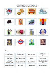 English Worksheet: BRITISH SYMBOLS (cut and paste)
