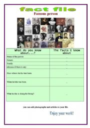 English Worksheets: fact file of a famous person