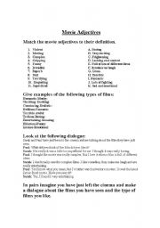 English Worksheets: Movie Adjectives