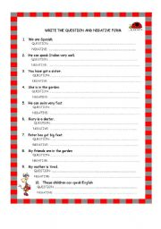 English Worksheet: To be-Can-Have got: questions and negative form
