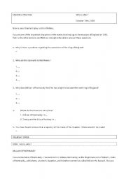 English Worksheet: THE BATTLE OF HASTINGS