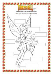 English Worksheets: TINKER BELL, parts of the body