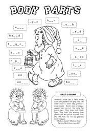 English Worksheet: Body parts