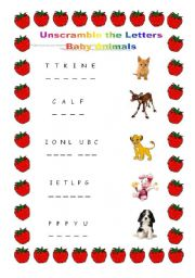 English Worksheet: Unscramble the Letters - Baby Animals