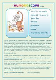 English Worksheets: Humoroscope part 6 SCORPIO