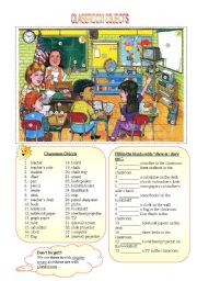English Worksheet: Classroom Objects - There is / There are