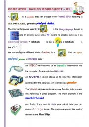 English Worksheet: (PART I/2 )Computer Basics: Getting familiarized with Computers (For Children and adults) ICT