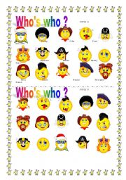 English Worksheets: WHO�S WHO ? face pairwork !!!!!!!!!!!!!!!!!!!!!!!!!!!!!!!!!!!!!!!!!