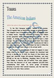 English Worksheet: Tenses (test): text about  the American Indians. (+ answers)
