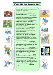 English Worksheet: What did the Smurfs do - past simple tense