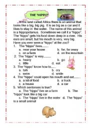 English Worksheets: The Hippo