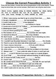 Choose the Correct Preposition Activity 1