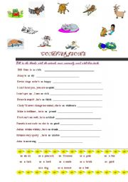 English Worksheets: Similes : Comparisons of animals