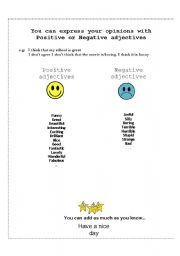English worksheet: opinions with Positive or Negative adjectives