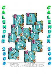 English Worksheets: CALENDER 2009