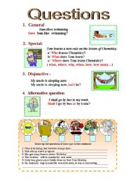 English Worksheets: Questions - ( different types)