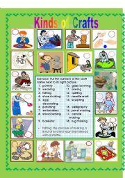 English Worksheets: Kinds of Crafts