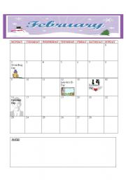 English Worksheets: CALENDER 2009 {FEBRUARY -  MARCH}