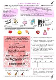 English Worksheets: Let�s talk about music