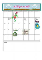 English Worksheets: 2009 Calender: April- May