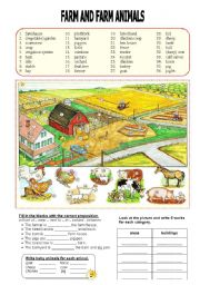 English Worksheet: Farm and Farm Animals - Prepositions of Place