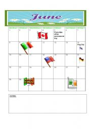English Worksheets: 2009 CALENDER JUNE -JULY