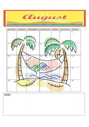 English Worksheets: 2009 CALENDER: AUGUST - SEPTEMBER