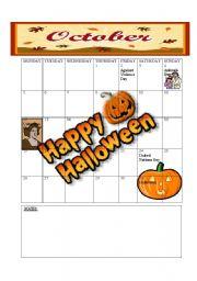 English Worksheets: 2009 CALENDER:  OCTOBER / NOVEMBER / DECEMBER