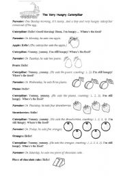 English Worksheet: The Very Hungry Caterpillar - Puppet´s play
