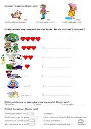 English Worksheets: 6th grades