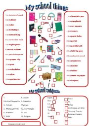 English Worksheet: school things and school subjetcs