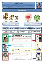 English Worksheet: PLUTO IS THE BIGGEST DOG. / LOVE IS THE MOST IMPORTANT THING.