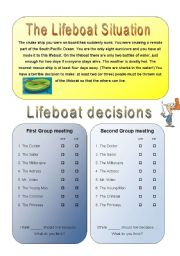 English Worksheet: Get your class talking - THE LIFEBOAT 2/4