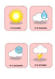 English Worksheet: Weather flashcards - SET 1
