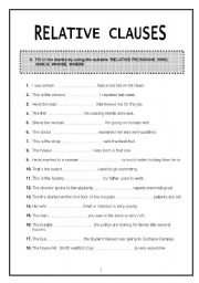 english teaching worksheets relative clauses. Black Bedroom Furniture Sets. Home Design Ideas