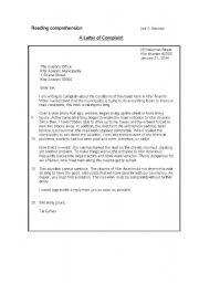 Reading comprehension a letter of complaint english worksheet reading comprehension a letter of complaint spiritdancerdesigns Images
