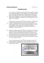 English Worksheets: Reading Comprehension: Semester at Sea