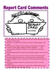 English Worksheets: Report card comments part 2