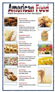 English Worksheet: (set 1/8) AMERICAN FOOD
