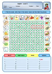 English Worksheet: FOOD - DRINKS - VEGETABLES - FRUIT