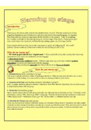 English Worksheets: warming up activities